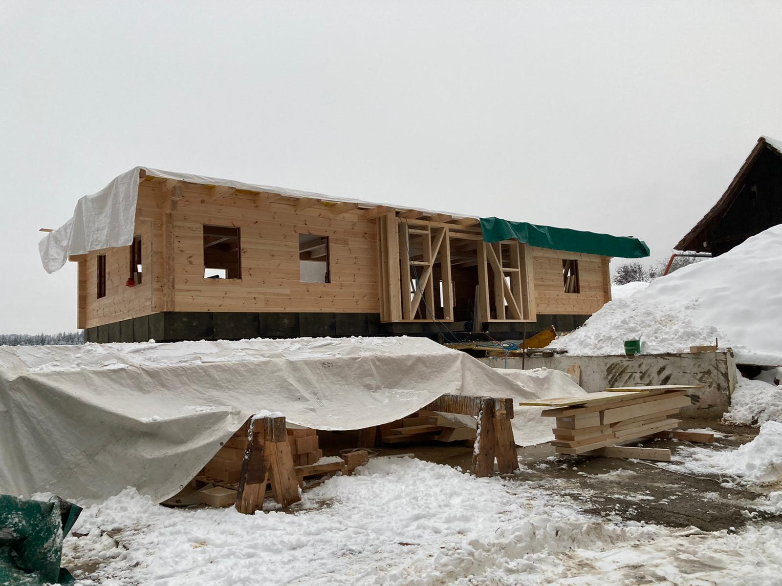 Bau eines Blockhauses